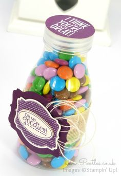 Stampin' Up! UK Demonstrator Pootles - Father's Day Sweetie Bottle with Deco Labels And Lid