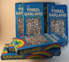 silver tinsel national brand 7 boxes 1.5 inch by rivertownvintage, $34.99