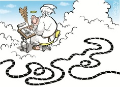 Bill Keane, artist for Family Circus, with trademark path in Heaven
