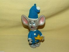 MOUSE ORNAMENT JASCO HONG KONG 1979 FLOCKED PLASTIC BLUE WHITE CANDLE HOLDER