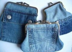 25 stunning ideas for reusing your old jeans. Upcycle old denim jeans into bags, wall art, gifts and more with links to step by step tutorials. Diy Jeans, Jean Crafts, Denim Crafts, Artisanats Denim, Denim Purse, Denim Bags From Jeans, Purse Wallet, Coin Purse, Clutch Purse