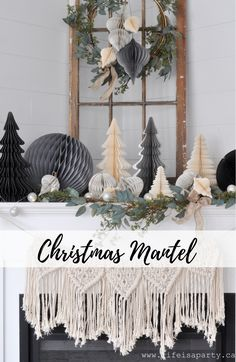 Christmas Mantel Beautiful Paper Honeycomb Ornaments And Tree Decorations Combined