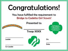 Bridging to Girl Scout Cadettes Certificate - I stole the idea from someone else, but this prints white and uses less printer ink!