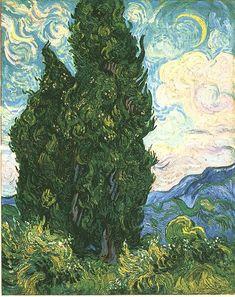 Vincent van Gogh: The Oil Paintings: Cypresses. Saint-Remy: June, 1889