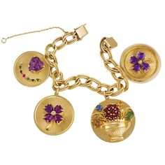 Charm Jewelry Charm bracelet with four large charms, set with amethyst and rubies, emerald and topaz. Vintage Charm Bracelet, Charm Jewelry, Vintage Jewelry, Gold Jewelry, Jewelry Box, Baguette, Charm Braclets, Gemstone Bracelets, Bangles