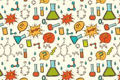 Check out Vector cartoon chemistry pattern. by Little A on Creative Market