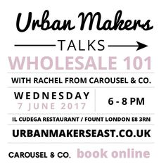 Really looking forward to this talk with @carouselandco coming up on Wednesday evening. Last chance to get tickets at 5 off - use code UME5OFF on checkout. Link in bio. Includes  and nibbles #urbanmakerseast #girlboss #womeninbusiness #hackney @il_cudega @fountlondon
