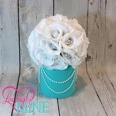 White, Tiffany Blue & Pearl Centerpiece, White Faux Silk Rose Pomander, Birthday, Baby Shower, Wedding, Bridal Shower by LovinglyMine on Etsy