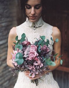 Mauve and green bridal bouquet | The Lone Riders and @Belle & Chic | see more on: http://burnettsboards.com/2014/06/spellbinding-barcelona-bridals/