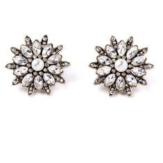 Snowflake earring studs ($36) ❤ liked on Polyvore featuring jewelry, earrings, accessories, studs, nickel free earrings, white pearl earrings, studded jewelry, earring jewelry and stud earrings