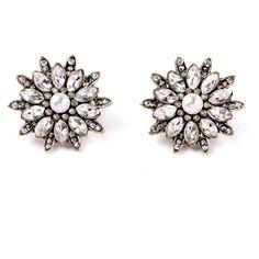 Snowflake earring studs ($36) ❤ liked on Polyvore featuring jewelry, earrings, studs, pearl jewelry, studded jewelry, earring jewelry, post back earrings and nickel free stud earrings