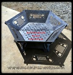 "36"" Hexagon Modular Fire Pit Kit - Jeep Grill Design - Solo Metal Works"