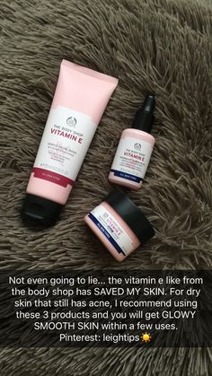 The Body Shop vitamin E range is super good for dry and scarred skin. Skin tips . The Body Shop vi The Body Shop, Beauty Care, Beauty Skin, Beauty Tips, Diy Beauty, Beauty Products, Products For Dry Skin, Body Shop Products, Beauty Ideas