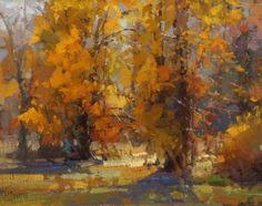 Cottonwoods by Kathryn Stats Greenhouse Gallery of Fine Art Abstract Landscape, Landscape Paintings, Autumn Painting, Painting Art, Great Paintings, Oil Paintings, Tree Art, Painting Inspiration, Yahoo Search
