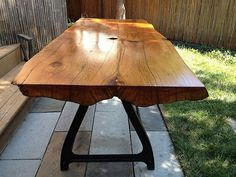 Reclaimed Live Edge Wood Slab Table Wrought Iron Machine Base. dining or work. Chicago pick-up only. vintage antique eco on Etsy, $3,000.00