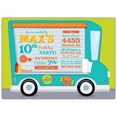 Food Truck Fun Birthday Invitations from PaperStyle If you're a big fan of food trucks, this is the perfect birthday invite for you! 10th Birthday, Birthday Fun, Birthday Cards, Custom Invitations, Invitation Cards, Birthday Invitations, Dinner Recipes For Kids, Kids Meals, Food Truck Party