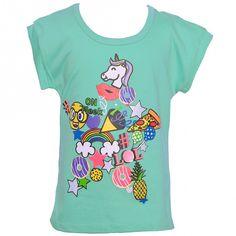 Little Girls Seafoam Summer Fun Print Stripe Short Sleeve T-Shirt 4-6X - Sophia's Style