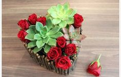 pretty - can do with heart cake pan, glue twigs around pan, fill with cactus soil and hens and chicks and stuff roses in between plants.......