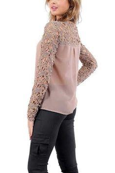 2014 новых женщин свободного покроя с длинным рукавом кружева крючком Emboriey широкий топы блузка купить на AliExpress