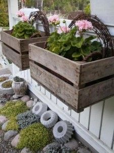 Window boxes from vintage crates .and cool looking cement shapes (made from vintage bundt cake pans?) - My Garden Window