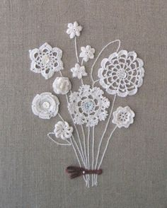 for inspiration- I never thought of using bits of crochet and tatting to make flowers- combine with embroidery and buttons Crochet Wall Art, Crochet Motif, Crochet Doilies, Crochet Flowers, Knit Crochet, Crochet Patterns, Crochet Bouquet, Crochet Stitch, Crochet World