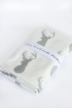 Organic Cotton Knit Baby Blanket. Grey Deer Silhouette Swaddle Blanket