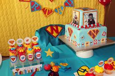 Superhero birthday cake & push pops
