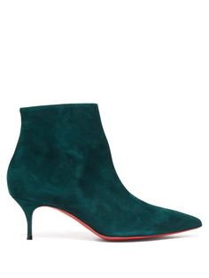 Christian Louboutin OFF!>> Christian Louboutin - So Kate 55 Suede Boots - Womens - Dark Green Leather Ankle Boots, Suede Boots, Bootie Boots, Women's Boots, Green Suede, Teal Green, Christian Louboutin So Kate, Black Leather Backpack, Pretty Shoes