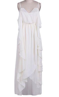 White Spaghetti Strap Ruffles High Low Chiffon Dress - Sheinside.com