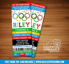 Printable Olympic Games Ticket Birthday Invitation | Kids Birthday Party for any age! | Sports Party | Summer Olympics Party | Gold Medalist | Backyard Summer Water Party | FREE thank you card included | Printable Matching Party Package Decorations Available! Banner | Signs | Labels | Favor Tags | Water Bottle Labels and more! www.dazzleexpressions.com