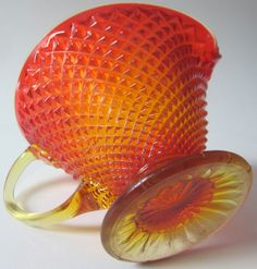 Fenton Glass Red Amberina Creamer Pitcher Hobnail Diamond by ddb7