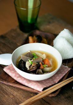 Tonjiru - Japanese soup made with pork and vegetables, flavored with miso
