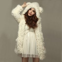 Free Shipping White Bear Ear Shape Hood Lambswool