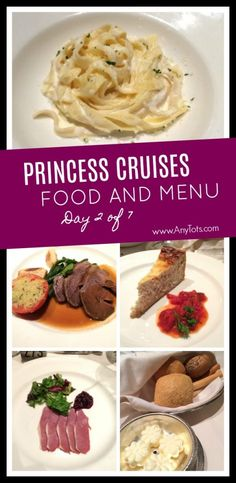 Princess Cruises Food and Menu. Day 2 of 7 on a Classic California Cruise. Princess Cruise Traditional and Anytime Dining Menu and Food. Packing List For Cruise, Cruise Tips, Cruise Travel, Cruise Vacation, Italy Vacation, Vacation Trips, Dining Menu, Princess Cruises, Alaska Cruise