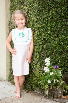 Monogram Spring Bib Dress, cute southern clothing for girls!!  #childrensclothing