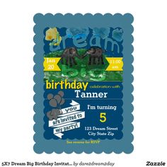 5X7 Dream Big Birthday Invitation -- personalize the birthday invitation with your child's name and birthday details at an affordable price!