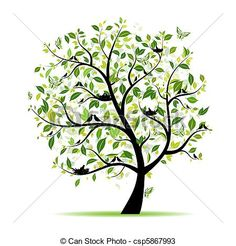 Vector - Spring tree green with birds for your design - stock illustration, royalty free illustrations, stock clip art icon, stock clipart icons, logo, line art, EPS picture, pictures, graphic, graphics, drawing, drawings, vector image, artwork, EPS vector art