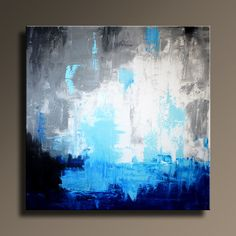 """36"""" ORIGINAL ABSTRACT White Gray Blue Black Painting on Canvas Contemporary Abstract Modern Art wall decor - Unstretched"""