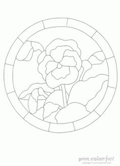You can color in this pansy flower inside a stained-glass-style frame! Color it on paper, or use it on clear plastic to make a colorful window hanging.