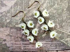 White Lily Flower Earrings White Lucite by HappyEverythingElse