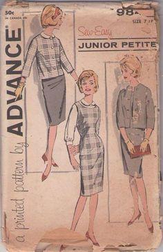 MOMSPatterns Vintage Sewing Patterns - Advance 9845 Vintage 60's Sewing Pattern FAB Sew Easy Mad Men Dart Fitted Jumper, Dress, Cardigan Suit Jacket Size 7JP