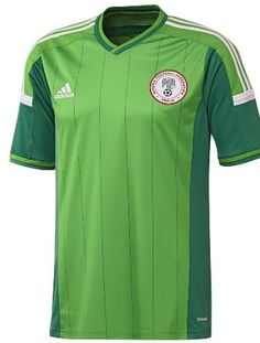 cc0c1b2bb21 The new Nigeria 2014 World Cup Kit features a light green main color and  comes with dark green pinstripes. Nigeria 2014 World Cup Away Jersey ...