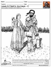 Coloring pages--Sacagawea, Hidatsa Warrior, Lewis & Clark, Map of their journey