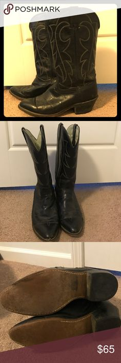 Black cowboys boots Gently worn cowboy boots. Either a size 8.5 or 9. Natural wear and tear. One once heel Durango Shoes Heeled Boots