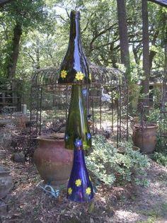 Garden yard bottle art recycled