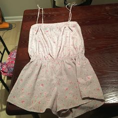 Lavender Floral Romper Lavender with pink floral print. Can be worn strapless or with straps. Excellent quality! Other