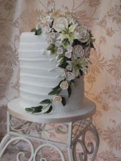 grecian  style triple stacked wedding cake  sugar flowers by cakes from the sweetest thing (Susan), via Flickr