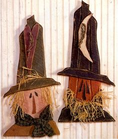 Primitive Wood Pattern- Scarecrow Head Pumpkin Head With Hat Rustic Decor