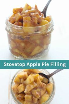 This Homemade Stovetop Apple Pie Filling is quick and easy. You can add your favorite seasons like cinnamon, nutmeg and maple syrup. Use this apple pie filling for all different types of desserts like cakes or as a topping for some pancakes. Stove Top Recipes, Apple Pie Recipes, Apple Desserts, Apple Cakes, Apple Pie Cupcakes, Homemade Apple Pie Filling, Apple Filling, Homemade Pie, Homemade Snickers