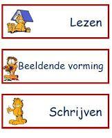 lesmateriaal en andere onderwijstips van juf Jantine: dagritmekaarten Garfield